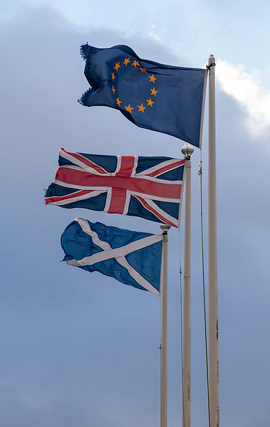 Scottish, UK and EU flags