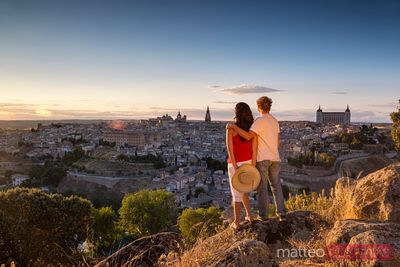 Adult couple of tourists looking at view, Toledo, Spain