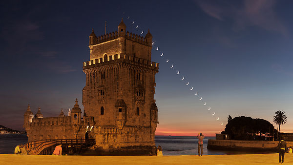 Moonset at Belem Tower