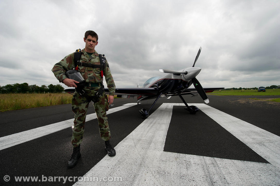 13th July, 2012.Black Knights Defence Forces Parachute Team Captain James Cahill photographed with an Sbach 342 aerobatic air...