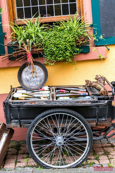 Bicycle with bottles of wine, Rudesheim, Rhine valley, Hesse, Germany