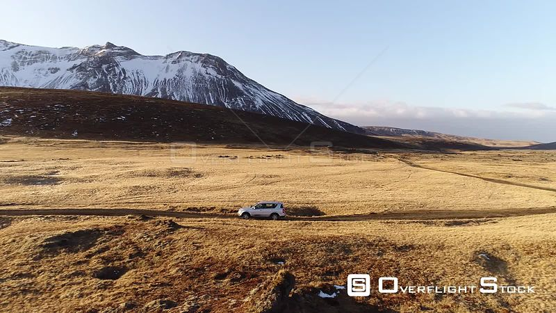 Drone Video SUV on a Isolated Road Iceland
