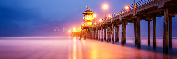 Huntington Beach Pier Sunrise Panorama Photo