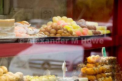 Indian sweets in a shop window