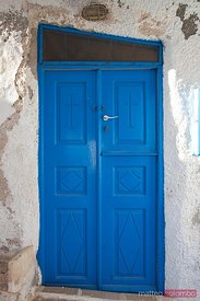 Blue church door in Santorini