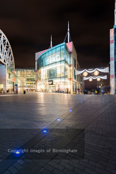 Christmas lights at the Bullring Shopping Centre, Birmingham, England, UK