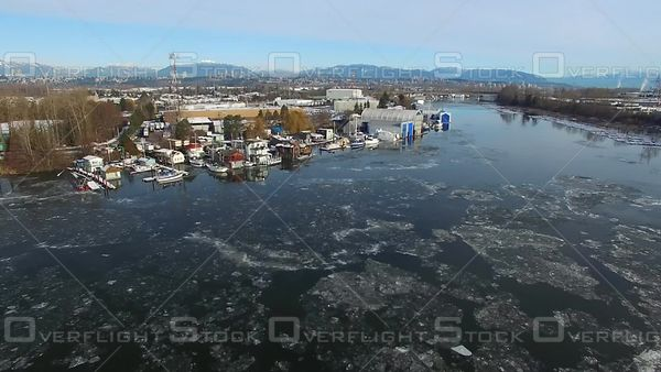 Ice on the Fraser River in Winter Ricmond BC Canada