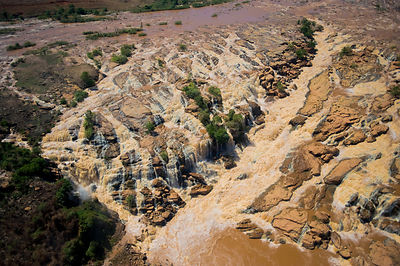 Aerial view of floods eroding the deforested landscape, central Madagascar, October 2008.