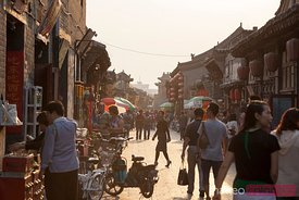 Sunset in the ancient street of Pingyao, China