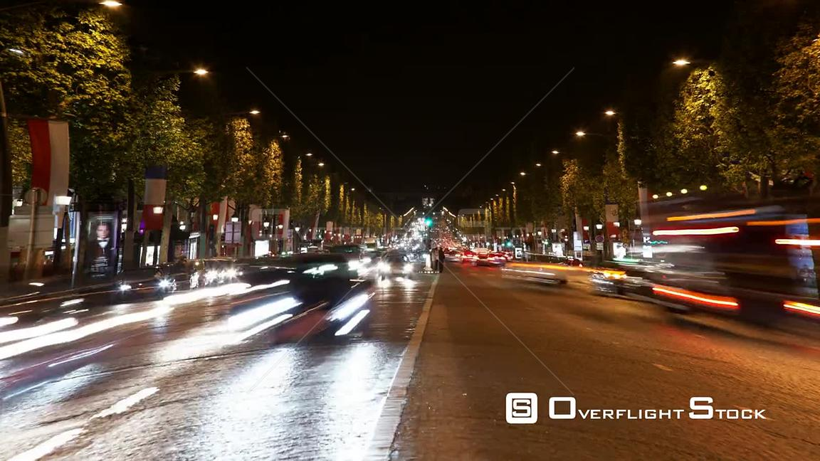 Timelapse of Paris Street at night.