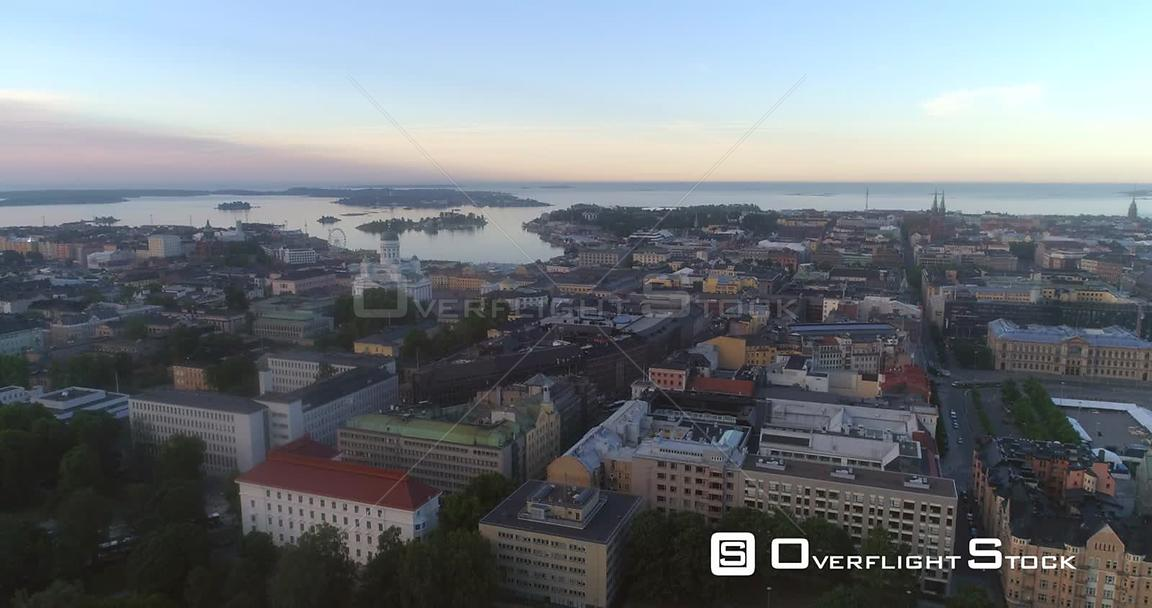 Sunrise Cityscape, Aerial View Around Helsinki South Harbour and the Cathedral, on a Sunny Summer Morning Dawn, in Helsingfor...