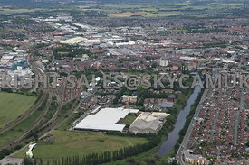Warrington aerial photograph of Centre Park Lakeside Drive looking from the south with the park in the foreground looking tow...