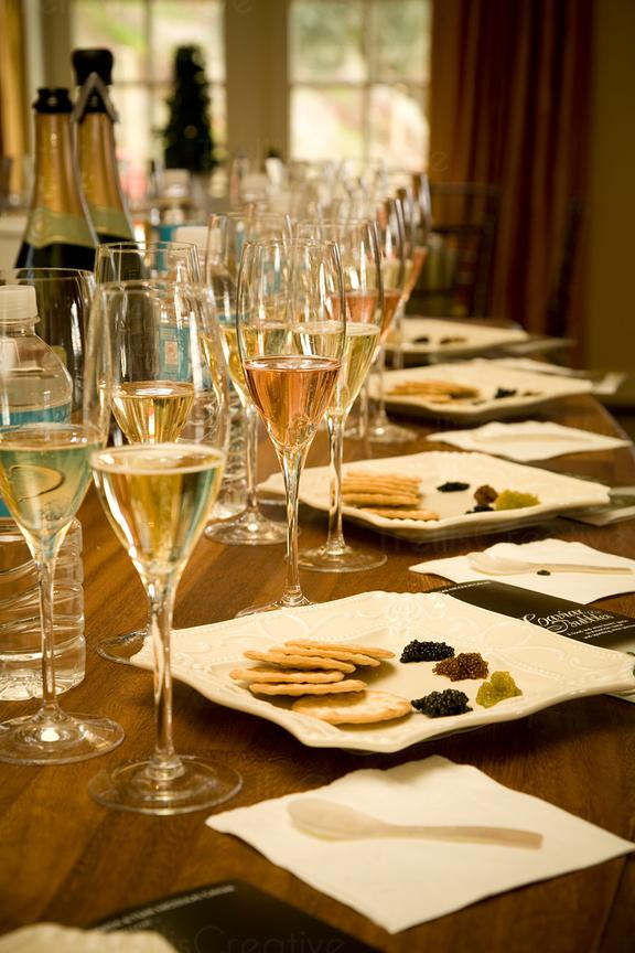 Champagne and caviar pairing and tasting
