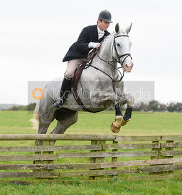 Angus Mossman jumping a hunt jump at Thorpe Satchville - Quorn Hunt Opening Meet 2016