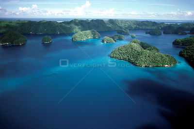 Aerial view of fringing coral reef and islands, Palau, Micronesia, Pacific Ocean.