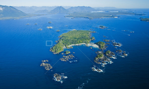 Aerial view of Bartlett Island, Clayoquot Sound, Vancouver Island, British Columbia, Canada