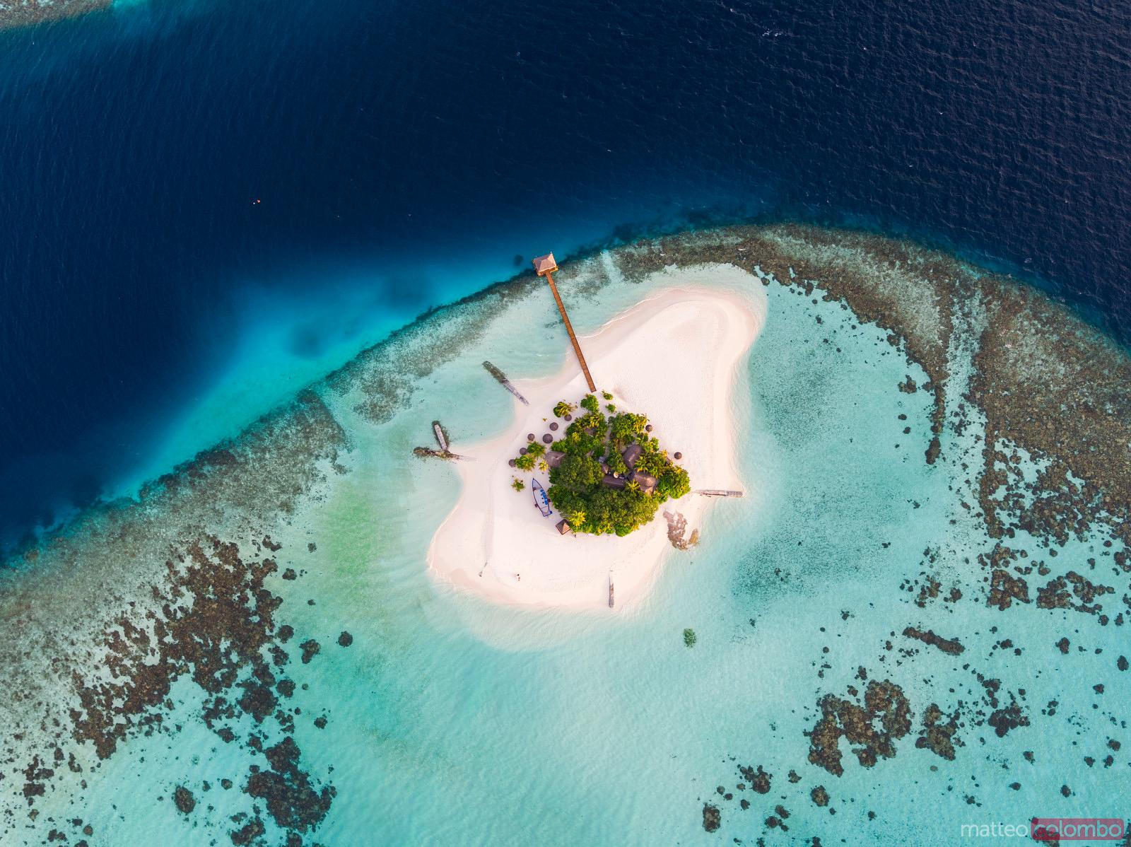 Aerial drone view of a tropical island, Maldives