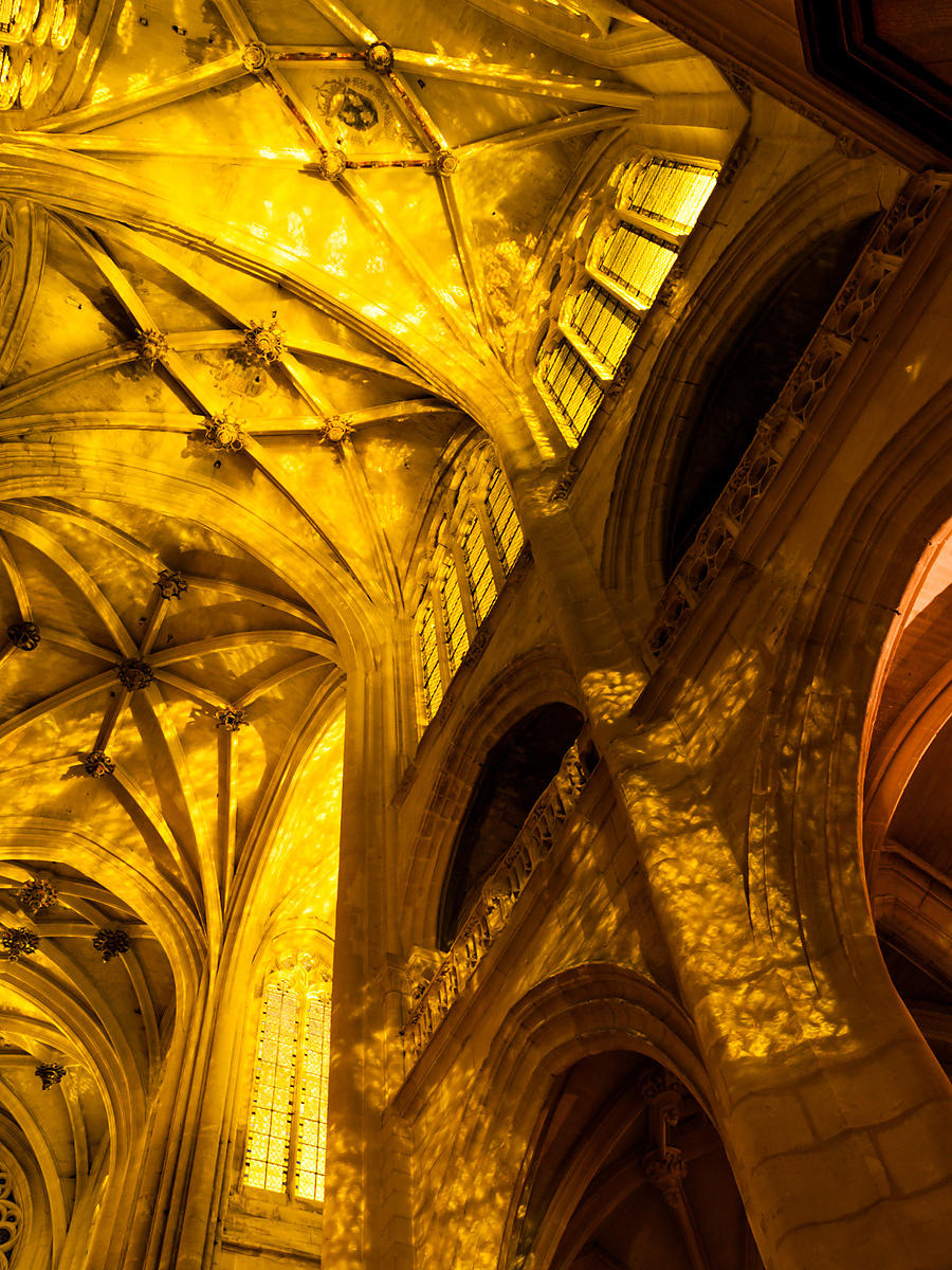 Senlis cathedral vault at night