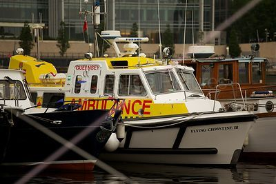 Ambulance Boat from Guernsey Waiting for the River Pageant