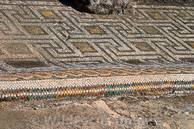 Floor mosaic in Galens Baths, Volubilis, Morocco; Landscape