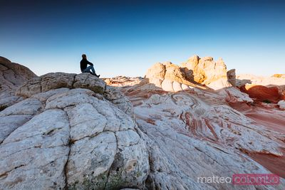 Hiker at Vermillion Cliffs, Arizona, USA