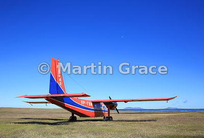 FIGAS (Falkland Islands Government Air Service) Britten-Norman Islander Aircraft VP-FBM on the ground at Carcass Island airst...