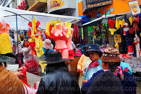 Stall selling red and yellow underwear on New Year's Eve, La Paz, Bolivia