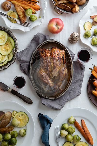 Big festive dinner with roasted chicken