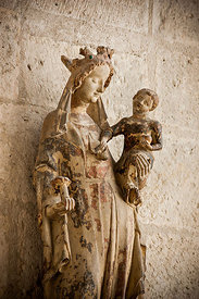 Detail of Virgin and child statue inside Bourges cathedral, Cher