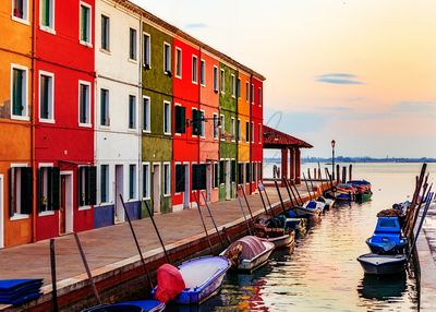 Boats and Colorful Homes in Burano Italy
