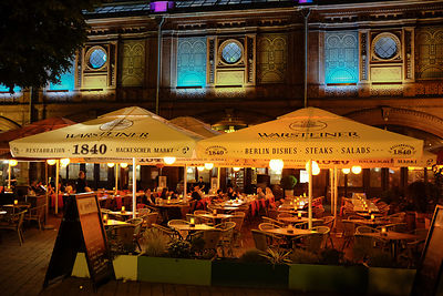 Night time at the Warsteiner Restaurant in Hackerscher Markt, Berlin