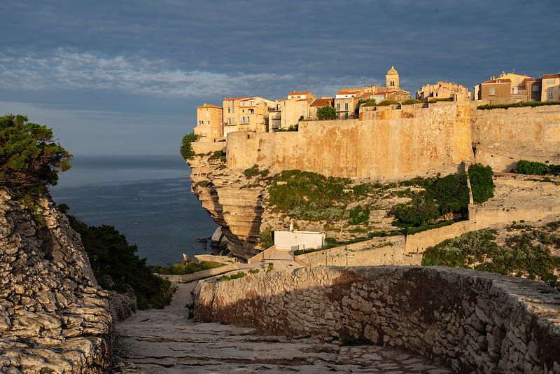 Elevated View of the Citadel of Bonifacio at Sunrise