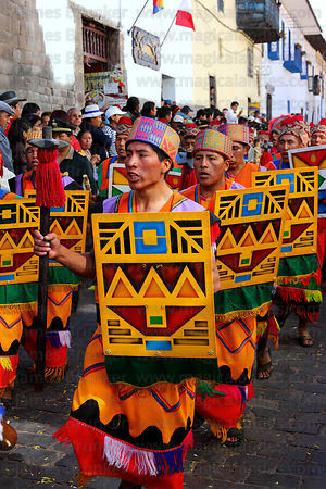 Warriors carrying shields during processions for Inti Raymi festival , Cusco , Peru