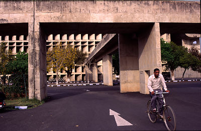 India - Chandigarh - A man on his bicycle Chandigarh