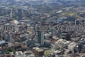 Manchester looking across   Piccadilly Plaza and Gardens with the City Tower in the foreground and Beetham Tower and central ...