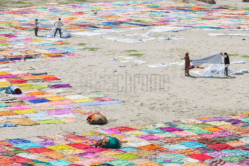 Saris Drying on the Banks of the Yamuna River