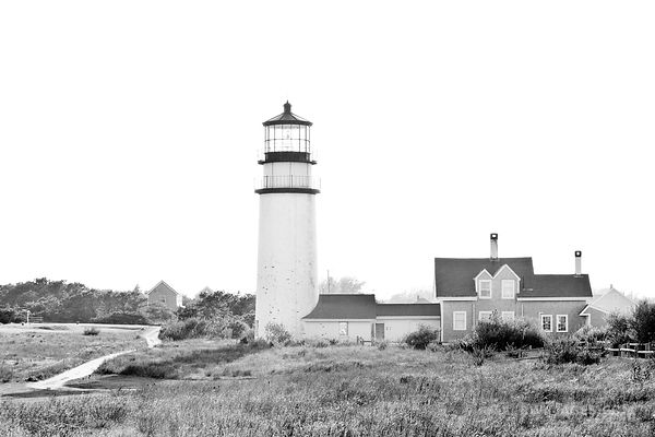 HIGHLAND LIGHTHOUSE NORTH TRURO CAPE COD BLACK AND WHITE