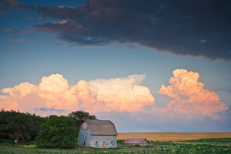 Nebraska Barn and Storm Clouds