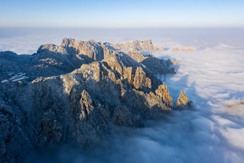 Aerial View of Huangshan Mountain Scene after Snowfall