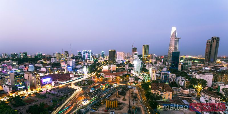 Vietnam, Ho Chi Minh city (Saigon). Skyline at sunset, panoramic