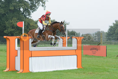 Sarah Stretton and SKIP ON II - cross country phase,  Land Rover Burghley Horse Trials, 6th September 2014.