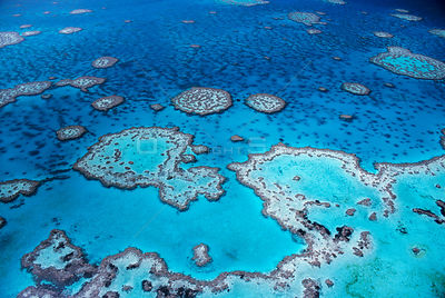 Aerial view of Hardy Reef, Great Barrier Reef and sea, Queensland, Australia