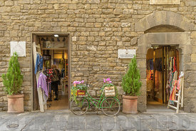 FLORENCE, ITALY - OCTOBER 29, 2018: A rustic fabric and clothing shop in Florence, Iraly.