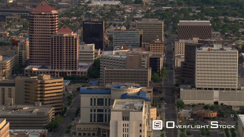 Close orbit of downtown Albuquerque high-rises.