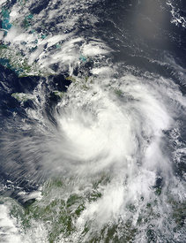 EARTH Caribbean Sea / Gulf of Mexico -- 24 Aug 2012 -- NASA's Terra satellite passed over Tropical Storm Isaac