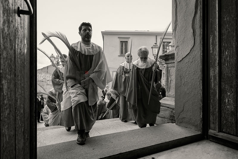 Men from a Brotherhood Arrive at the Chiesa Madre Carrying Palm Fronds