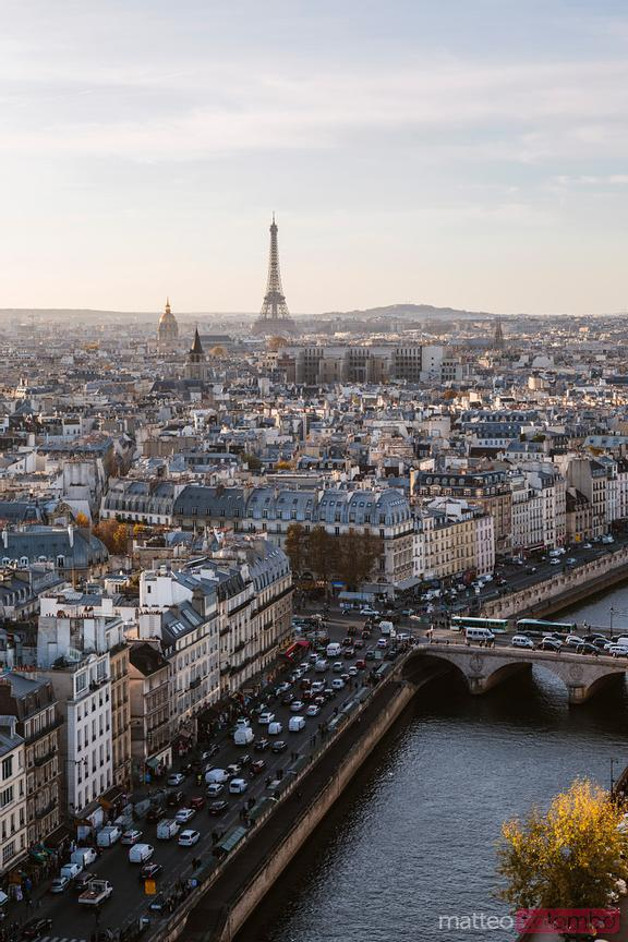 Paris city with Eiffel tower and river Seine, France