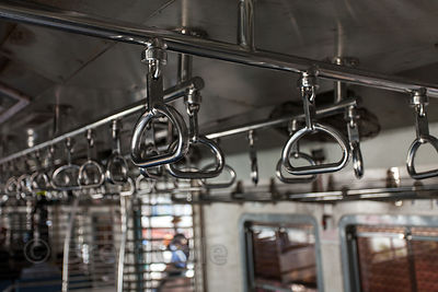 Handles in a train car in Mumbai, India. Local trains are a big part of daily life in Mumbai.