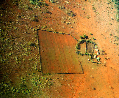 Aerial view of arid farm, Kenya, February 2011.