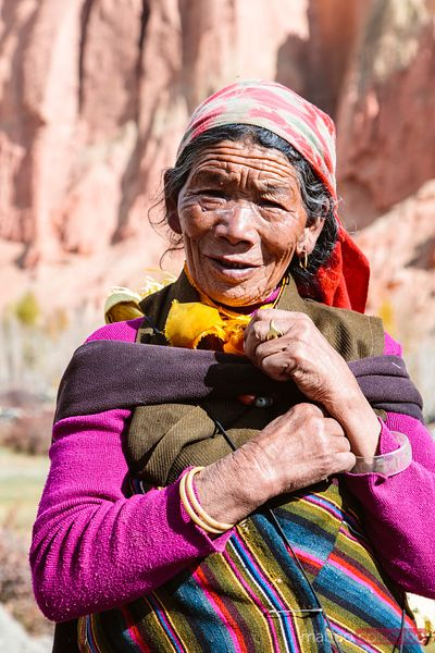 Old local woman, Upper Mustang region, Nepal